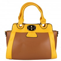 L1133 - Miss Lulu Leather Look Tote Handbag Brown And Yellow